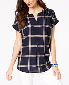 Charter Club Printed Popover Top, Created for Macy's