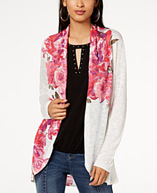 I.N.C. Floral-Print Open-Front Cardigan, Created for Macy's