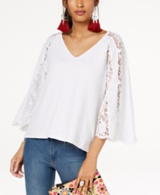 I.N.C. Lace-Sleeve Sweater, Created for Macy's