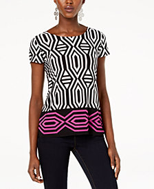 I.N.C. Printed Tie-Back T-Shirt, Created for Macy's