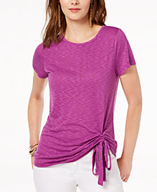 I.N.C. Ruched Crew-Neck T-Shirt, Created for Macy's