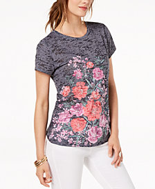 I.N.C. Printed Floral-Graphic T-Shirt, Created for Macy's