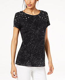 I.N.C. Cotton Faux-Pearl-Embellished T-Shirt, Created for Macy's