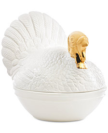 CLOSEOUT! Martha Stewart Collection Turkey Covered Vegetable Bowl, Created for Macy's