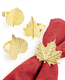 Martha Stewart Collection Leaf Napkin Rings, Set of 4