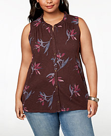 Lucky Brand Trendy Plus Size Printed Button-Front Top