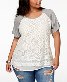 Eyeshadow Trendy Plus Size Lace-Front Top