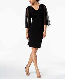 Connected Cowl-Neck Statement-Sleeve Dress