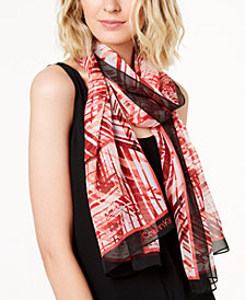 Calvin Klein Abstract Silk Chiffon Scarf, Created for Macy's