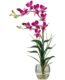 Nearly Natural Dendrobium Artificial Flower Arrangement in Glass Vase
