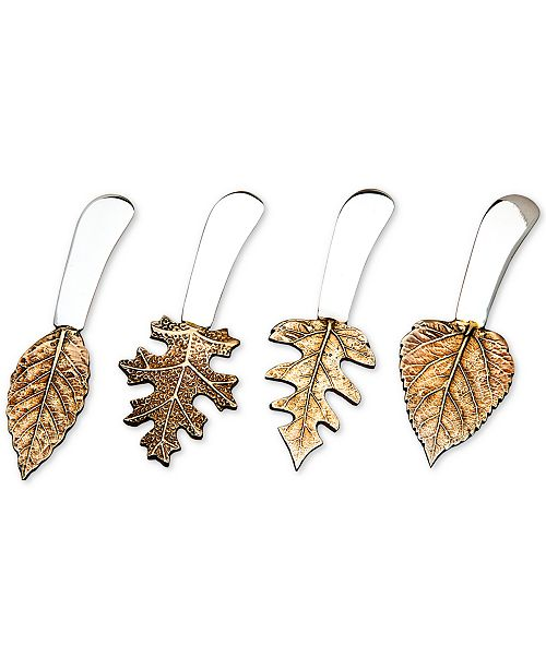 Godinger Brass Leaf Spreaders, Set of 4