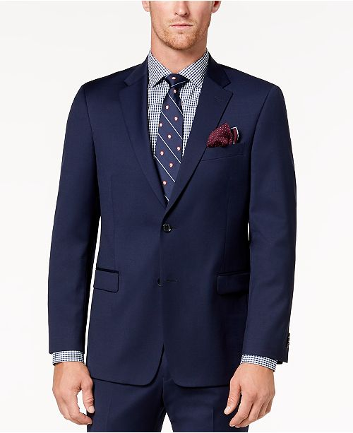 Tommy Hilfiger Men's Modern-Fit TH Flex Stretch Navy Twill Suit Jacket