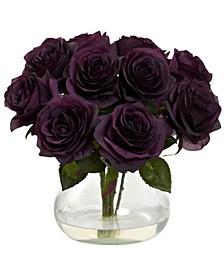 Purple Rose Artificial Arrangement with Vase