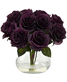 Nearly Natural Purple Rose Artificial Arrangement with Vase