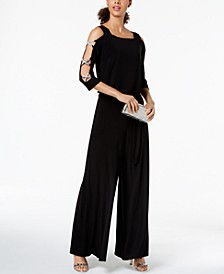 Bling-Sleeve Wide-Leg Jumpsuit