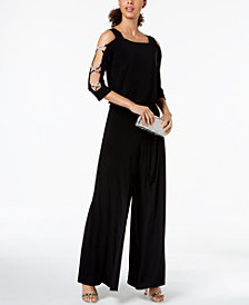 MSK Bling-Sleeve Wide-Leg Jumpsuit