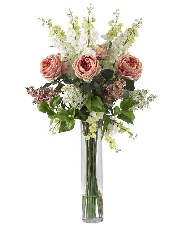 Nearly Natural Rose, Delphinium & Lilac Artificial Flower Arrangement