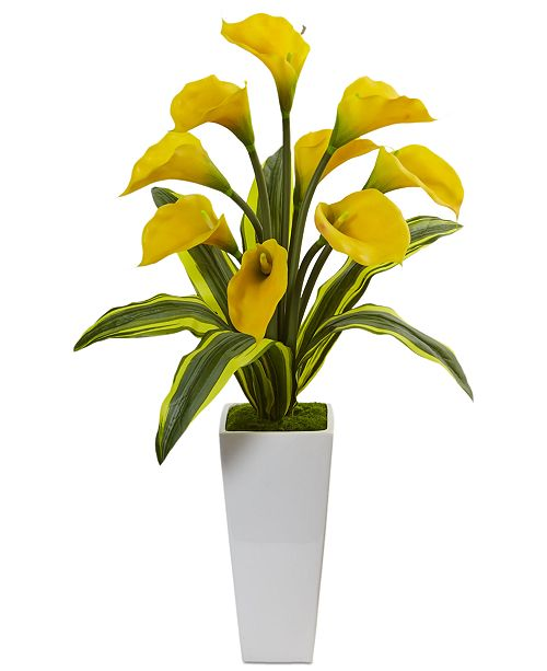 Nearly Natural Calla Lilies with Tropical Leaves Artificial Arrangement in Glossy Planter
