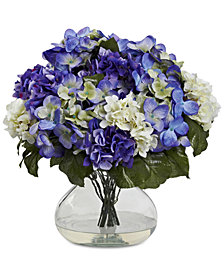 Nearly Natural Blue Hydrangea Artificial Arrangement with Large Glass Vase