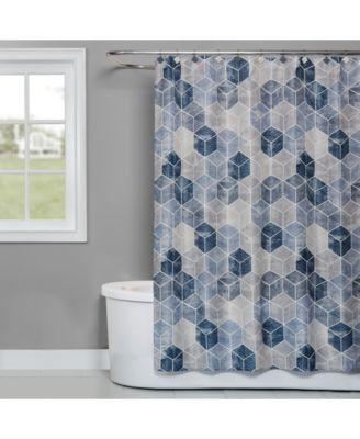 "Cubes 70"" x 72"" Geo-Print Shower Curtain"