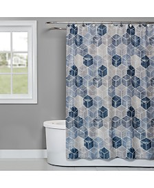 "Saturday Knight Cubes 70"" x 72"" Geo-Print Shower Curtain"