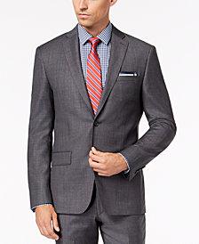 DKNY Men's Slim-Fit Gray Blue Tic Suit Jacket