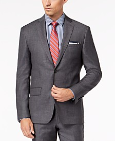 DKNY Men's Slim-Fit Gray Blue Tic Suit Jacket