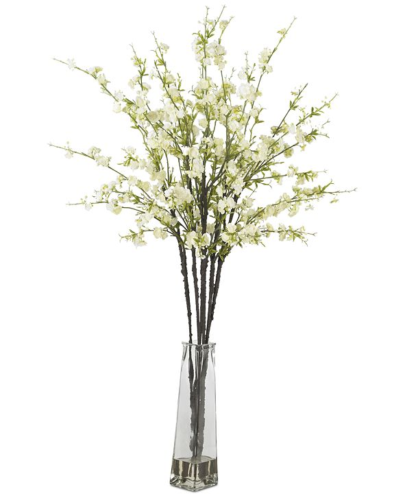 Nearly Natural Cherry Blossom Artificial Flower Arrangement in Vase