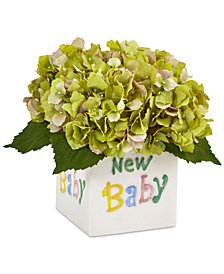 Nearly Natural Green Hydrangea Artificial Arrangement in New Baby Ceramic Planter