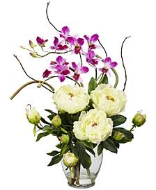Peony & Orchid Artificial Flower Arrangement