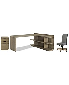 Ridgeway Home Office 4-Pc. Set (Return Desk, Peninsula USB Outlet Bookcase, Upholstered Desk Chair, & Mobile File Cabinet)