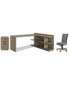 Ridgeway Home Office Furniture, 4-Pc. Set (Return Desk, Peninsula USB Outlet Bookcase, Upholstered Desk Chair, & Mobile File Cabinet)