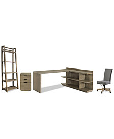 Ridgeway Home Office Furniture, 5-Pc. Set (Return Desk, Peninsula USB Outlet Bookcase, Upholstered Desk Chair, Mobile File Cabinet, & Leaning Bookcase)