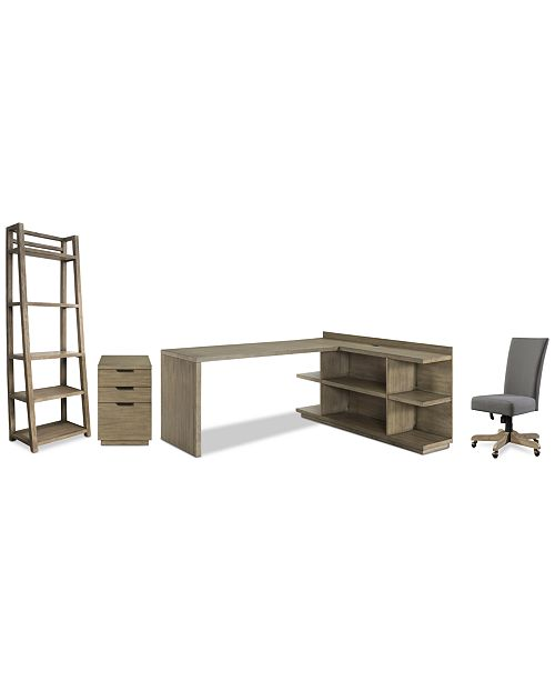 Ridgeway Home Office Furniture, 5-Pc. Set (Return Desk, Peninsula USB on home library with ladder, home office furniture ideas, home office desk with drawers, home office furniture design, girls loft bunk beds with desk, home office bookcase with ladder, home office desk furniture wood, home office wall units with desk,