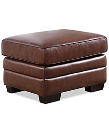 Anderson Leather Ottoman, Quick Ship