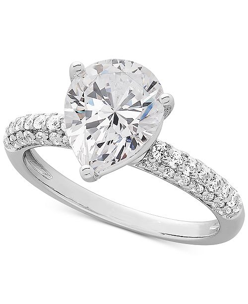 d80ad6996971 ... Macy s Arabella Swarovski Zirconia Pear-Shape Ring in Sterling Silver  ...