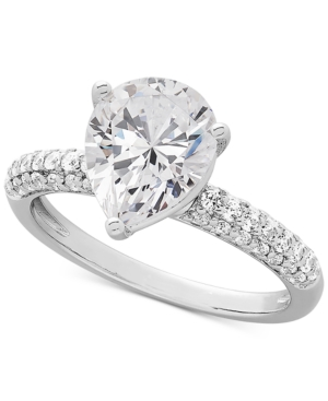 Cubic Zirconia Pear-Shape Ring in Sterling Silver