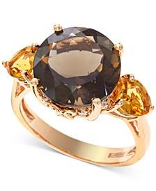 EFFY® Smoky Quartz (5-1/3 ct. t.w.) & Citrine (3/4 ct. t.w.) Ring in 14k Rose Gold