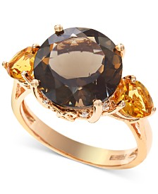 EFFY® Smoky Quartz (5-1/3 ct. t.w.) & Citrine (3/4 ct. t.w.) Ring in 14k Rose Gold