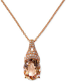 "EFFY® Morganite (2-1/2 ct. t.w.) & Diamond (1/10 ct. t.w.) 18"" Pendant Necklace in 14k Rose Gold"