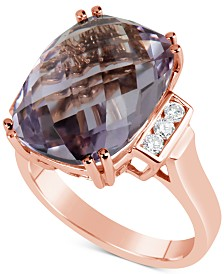 Rose Amethyst (9-1/2 ct. t.w.) & Diamond (1/5 ct. t.w.) Ring in 14k Gold