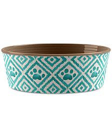 TarHong Paw Ikat Teal Small Pet Bowl