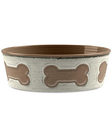 TarHong Bone Emboss Beige Large Pet Bowl