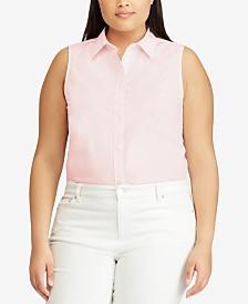 Lauren Ralph Lauren Plus Size Non-Iron Stretch Sleeveless Shirt