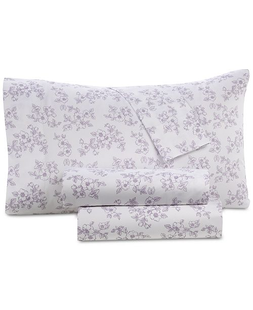 Westport Printed Organic 4-Pc. Full Sheet Set, 500 Thread Count GOTS Certified Cotton
