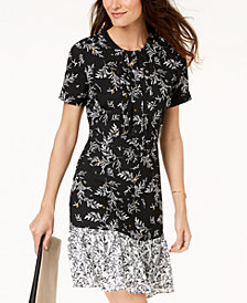 Maison Jules Printed Flounce-Hem Dress, Created for Macy's