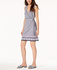 Maison Jules Printed Faux-Wrap Dress, Created for Macy's