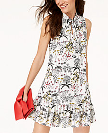 Maison Jules Printed Tie-Neck Dress, Created for Macy's