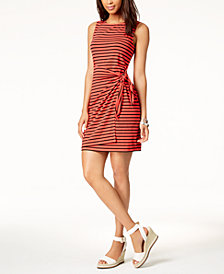 Tommy Hilfiger Striped Tie-Detail Dress, Created for Macy's