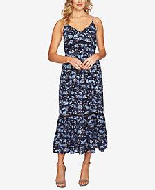 CeCe Printed Pleated Sleeveless Dress